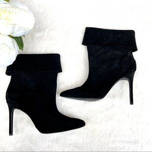 Boston Proper Black Leather Heeled Ankle Boots